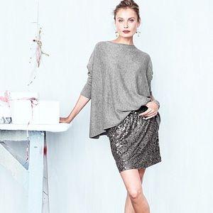 Garnet Hill sequin skirt in gray  medium
